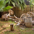 Artistic ox-wagon composition in garden - Stock Photo