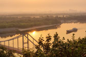 View at Dnieper with ship in morning light — Stock Photo