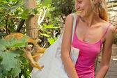 Two cute little monkeys inspect girl's bag — Stock Photo