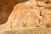 Parede da caverna de elands bay com arte rupestre — Foto Stock