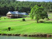 Dům s trávníkem na břehu jezera — Stock fotografie