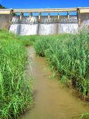 Baraj duvarı gelen nehri — Stok fotoğraf
