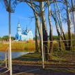 View at St. Nikolai's cathedral from pavilion — Stock Photo #32410581