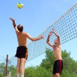 Постер, плакат: Two men playing beach volleyball short balding man wins over t