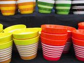 Set of multi-color pots — Stock Photo