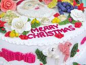 Merry Christmas cream cake with many decors — Stock Photo