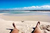 Lying on beach — Stock Photo