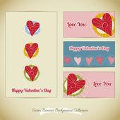 Collection d'arrière-plan bannière de l'amour — Vecteur