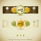 Honey Branding Banner Collection — Stock Vector