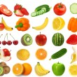Collection of fresh juicy fruits and berries isolated on white b — Stock Photo #20140911