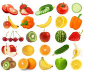 Collection of fresh juicy fruits and berries isolated on white b — Stock Photo
