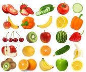 Zbiór świeże, soczyste owoce i jagody na białym tle na b biały — Zdjęcie stockowe