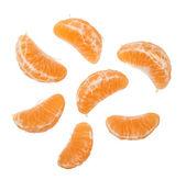 Peeled mandarin isolated on white background — Stock Photo