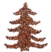 Coffee beans shaped as a christmas tree — Stock Photo
