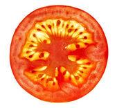 Tomato slice isolated on white — Stock Photo