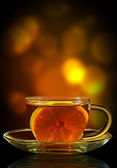 Cup of tea with lemon — Stock Photo
