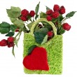 Stock Photo: Decorative basket with raspberries