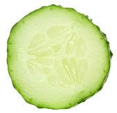 Fresh cucumber slice isolated on white background — Stock Photo