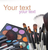 Makeup brush and cosmetics, on a white background isolated — Stock Photo