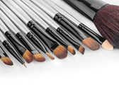Close up view of different brushes on white back — Stock Photo