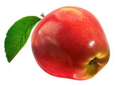 Ripe red apple with a leaf. Isolated on a white background. — Stock Photo