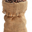 Coffee beans in burlap sack — Stock Photo