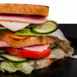 Sandwich isolated on black and white background — Stock Photo