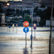 Flooded city of hungary — Stock Photo