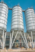 Cement silo at construction site — Stock Photo