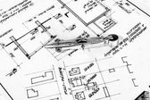 Industrial blueprints closeup — Stock Photo