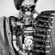 Vintage robot in black and white photo — Stock Photo