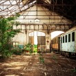 Old industrial building with train — Foto Stock