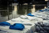 Sacos de arena en el diluvio — Foto de Stock