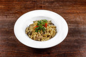 Delicious pasta on white plate — Foto de Stock