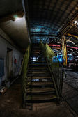 Green industrial stairs — Стоковое фото