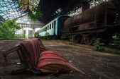 Some trains at abandoned train depot — Stock Photo