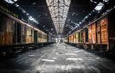 Old trains at abandoned train depot — Stock Photo
