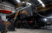 Old industrial train in depot — Стоковое фото