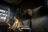 Abandoned carriage interor with seats — Foto Stock