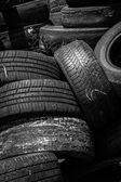 Used car tyres background — Stock Photo