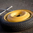 Spare wheel of a car — Stock Photo