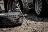 Spare wheel of a car — Stock fotografie