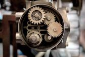 Closeup of metal cog gears — Stock Photo