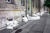 Sandbags at the flood — Stock Photo