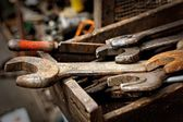 Dirty set of hand tools — Foto Stock