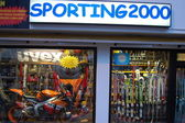Show-window of sports shop — Stock Photo
