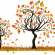Tree autumn background, vector — Stock Vector