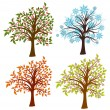 Four seasons trees, vector — Stok Vektör