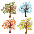 Stock Vector: Four seasons trees, vector