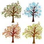 Four seasons trees, vector — Stock Vector